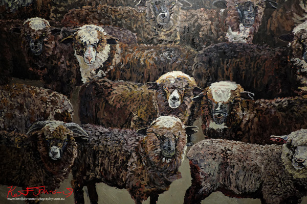 Detail - The Residents of Bibbenluke Lodge, a small flock of sheep. Street Fashion Sydney by Kent Johnson.