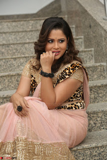 Shilpa Chakravarthy in Lovely Designer Pink Saree with Cat Print Pallu 053.JPG