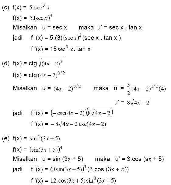 Contoh Soal Turunan Trigonometri