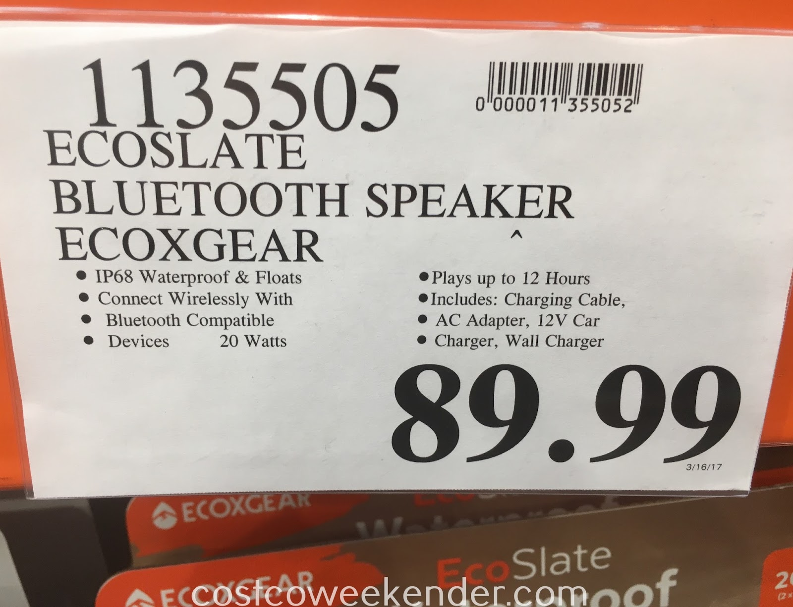 Deal for the ECOXGEAR EcoSlate Bluetooth Speaker at Costco