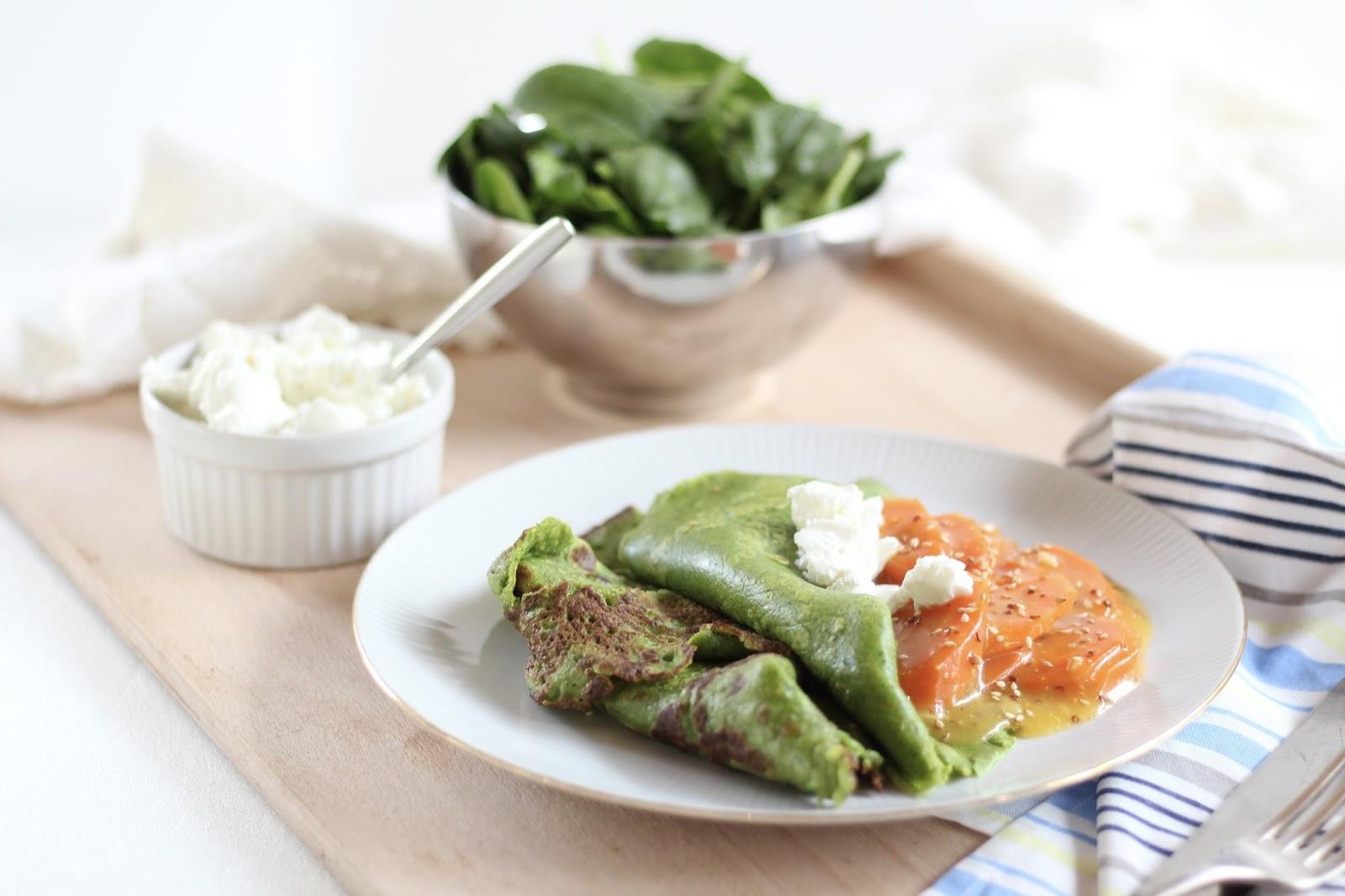 Menueplan Clean Eating Style - Vollwertig kochen und fit in den Frühling: Spinatpfannkuchen mit gedünsteten Möhren