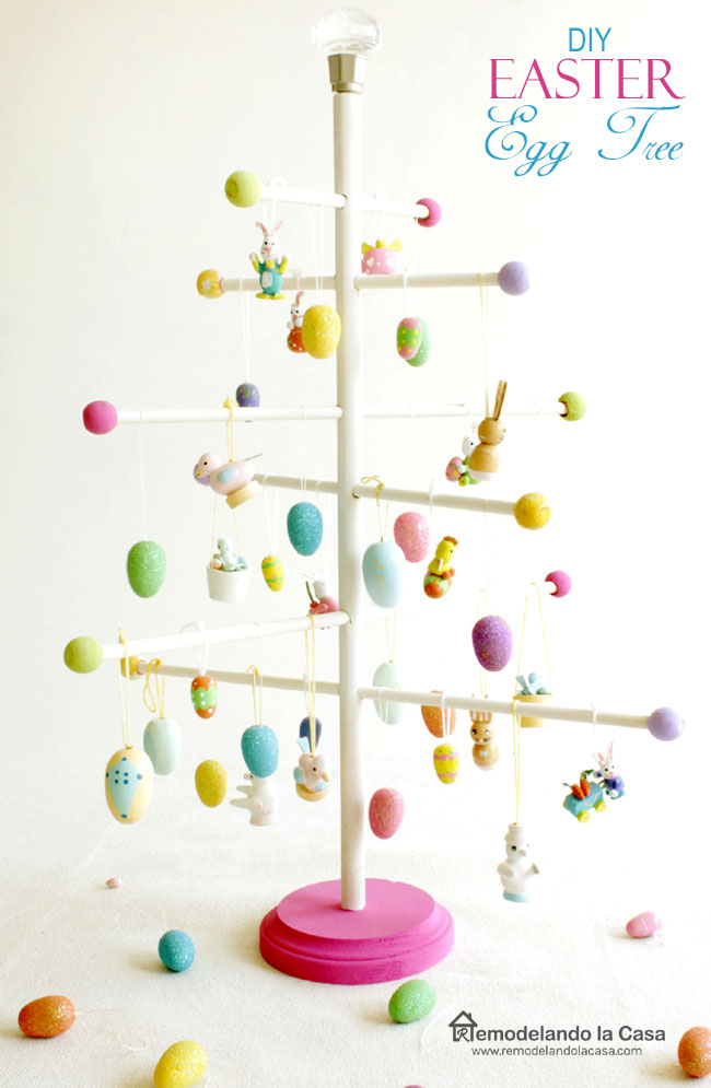 how to make your own easter egg tree with wood dowels