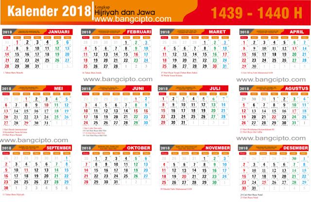 Gratis Template Kalender 2018 PDF Lengkap libur Nasional dan tanggal Jawa