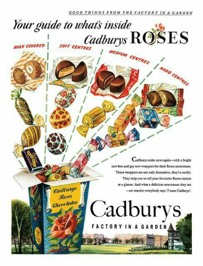 Cadbury Roses Chocolates 1954 Advertisement showing candies coming from package of Roses Chocolate