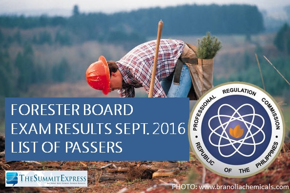 List of Passers: September 2016 Forester board exam results