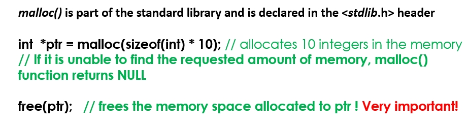 C Code Snippets 9 Dynamic Memory Allocation Malloc