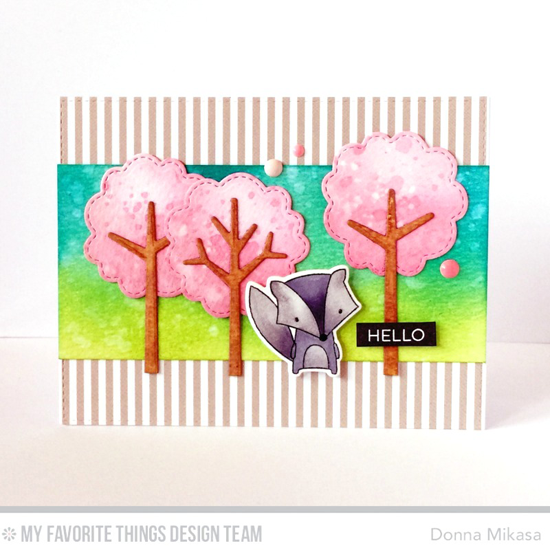 Cherry Blossoms Card by Donna Mikasa featuring the Label Maker Sentiment stamp set, Forest Friends stamp set and Die-namics, and Tree-mendous Die-namics #mftstamps