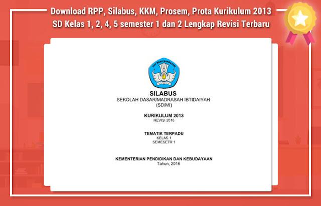 RPP, Silabus, KKM, Prosem, Prota Kurikulum 2013 SD Kelas 1, 2, 4, 5 semester 1 dan 2 Lengkap Revisi Terbaru