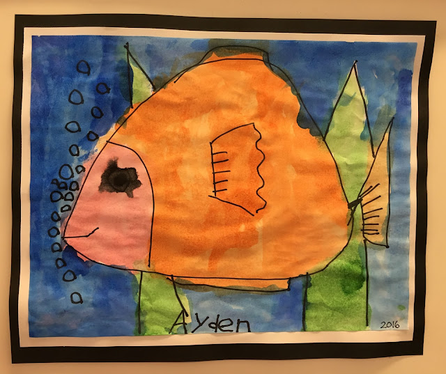 Colorful watercolor fish- easy kindergarten art project