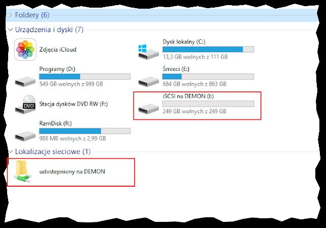 Dysk iSCSI i folder udostępniony z macierzy DS216j widoczne w komputerze z systemem Windows10
