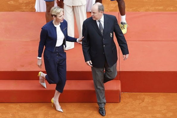 Prince Albert II of Monaco and Princess Charlene of Monaco at the awarding ceremony following the final tennis match at the Monte-Carlo ATP Masters Series Tournament in Monaco