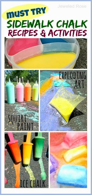 Tons of fun & creative ways to play with sidewalk chalk; Recipes for exploding art, ice chalk, squirty chalk, chalk bombs,and more!
