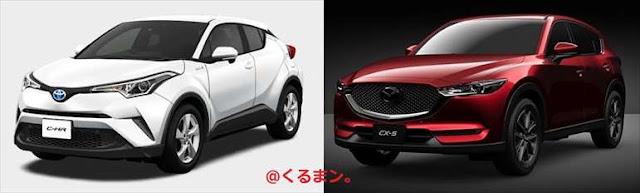 トヨタ新型C-HR マツダ新型CX-5 車体エクステリア 比較写真