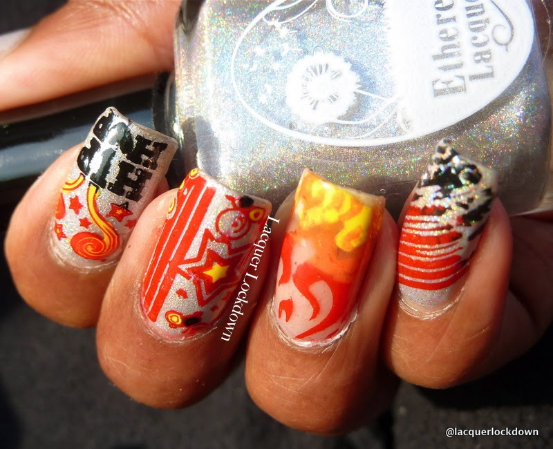 Lacquer Lockdown - MoYou London, Orly Satin Reflection, ethereal Lacquer Claire de Lune, MoYou London Roxy 01, MoYou London Roxy 05, MoYou London Roxy Collection, hip hop nails, hip hop nail art, flames nail art, holographic nails, stamping, nail art, diy nail art, cool nail art ideas, cute nail art ideas, concert nails, concert nail art, 31 day nail art challenge, red nails