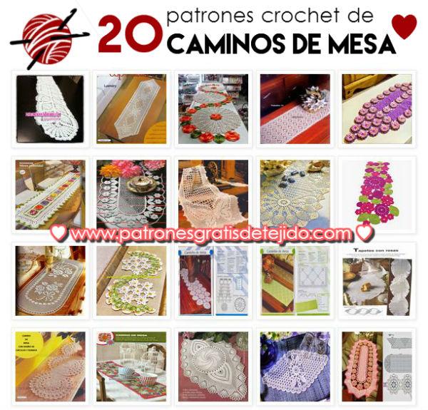 20 PATRONES CROCHET DE CAMINOS DE MESA