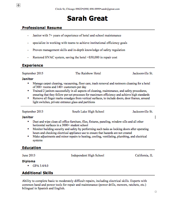 Sample of Professional Resume Templates Word