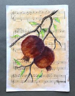 ботанический рисунок, сухая пастель.
