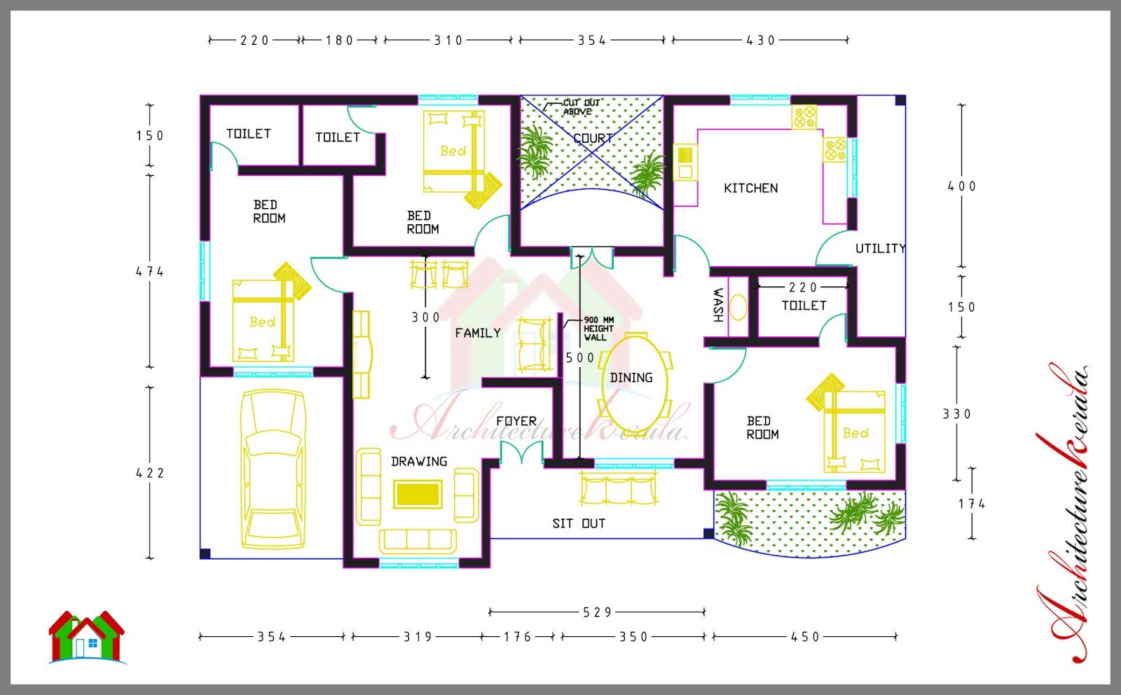 4 bed house plans kerala