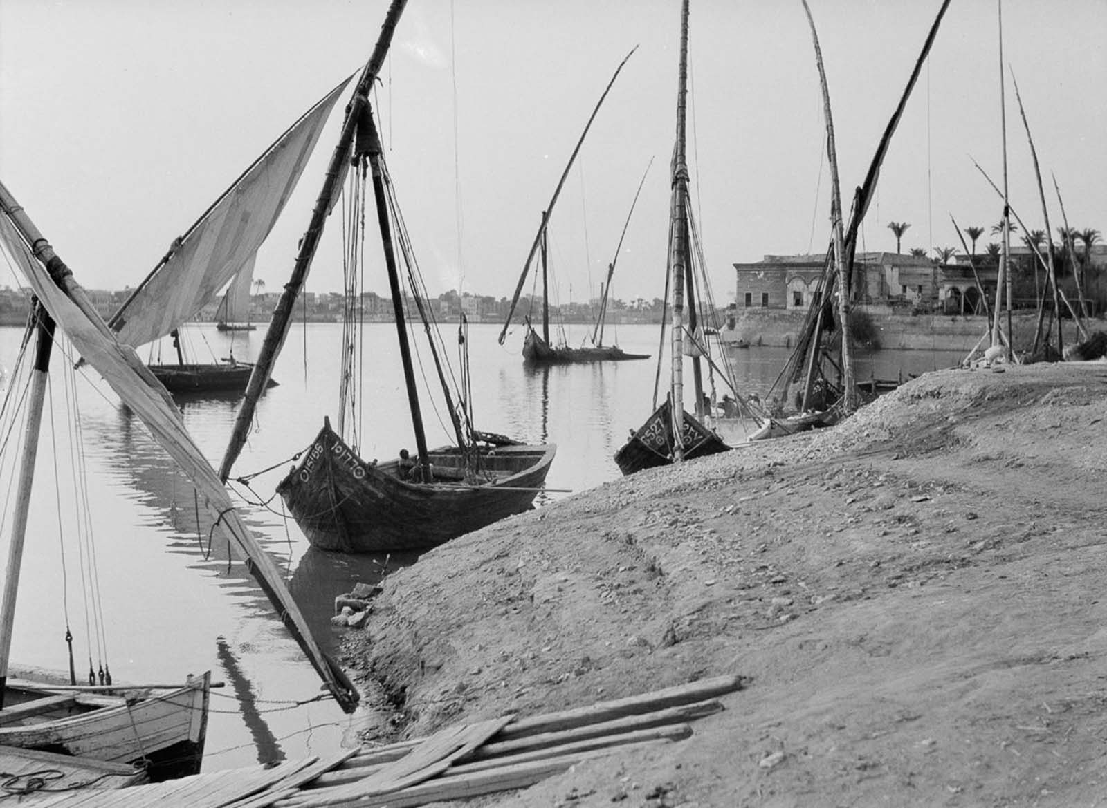 Boats along the banks of the Nile. 1934.