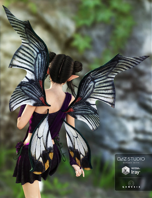 Dark Fairy Wings for Genesis 3 Female