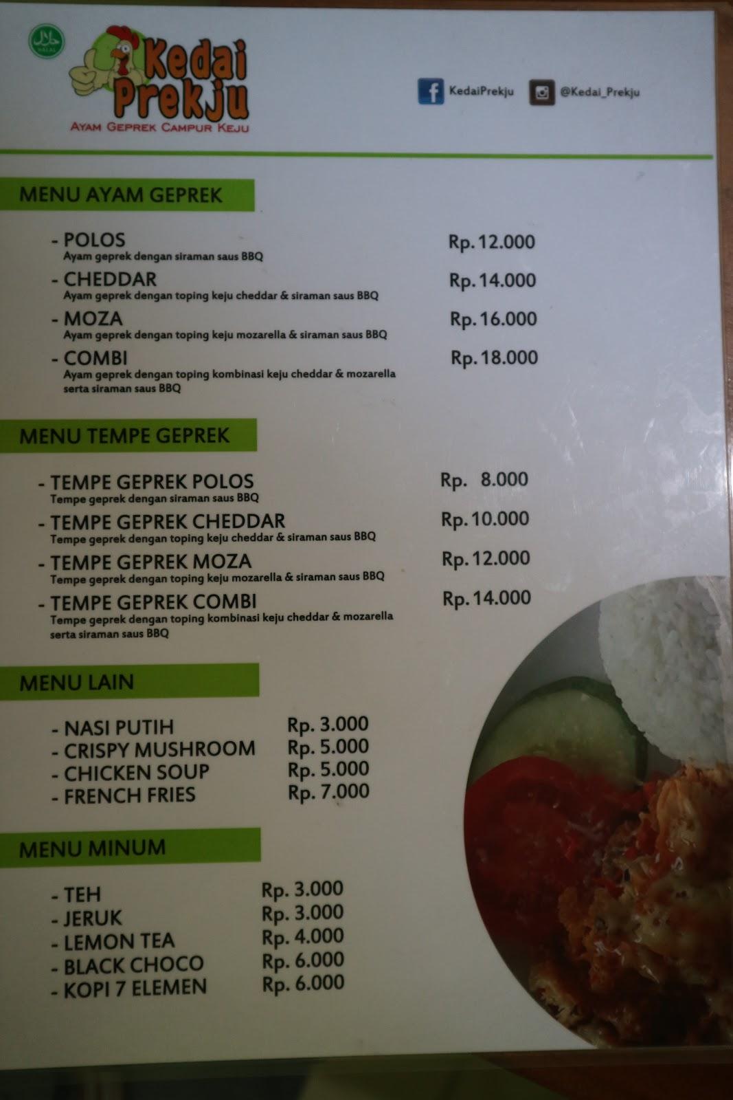 harga menu ayam geprek jogja