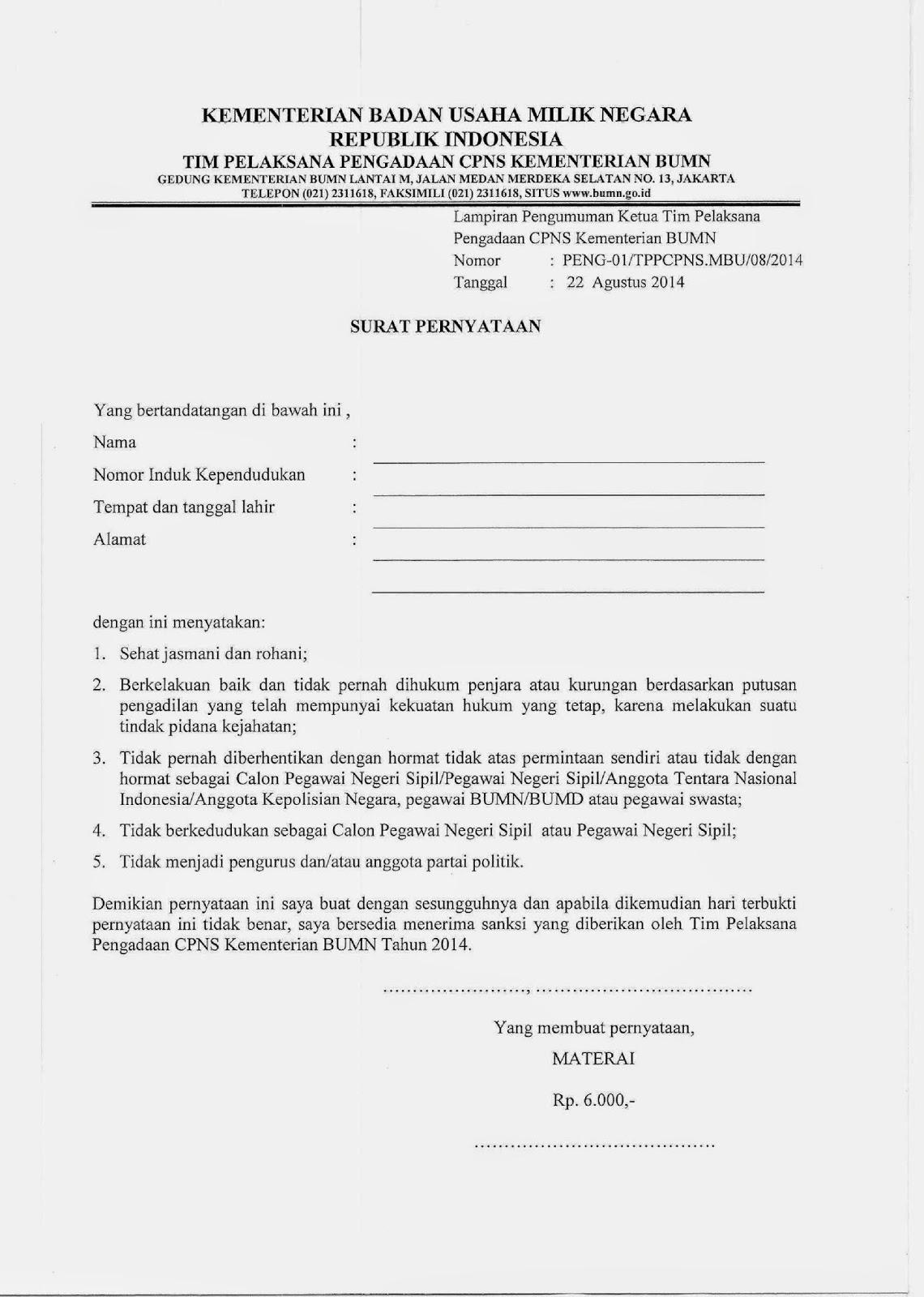 Format Surat Lamaran Kerja Pns
