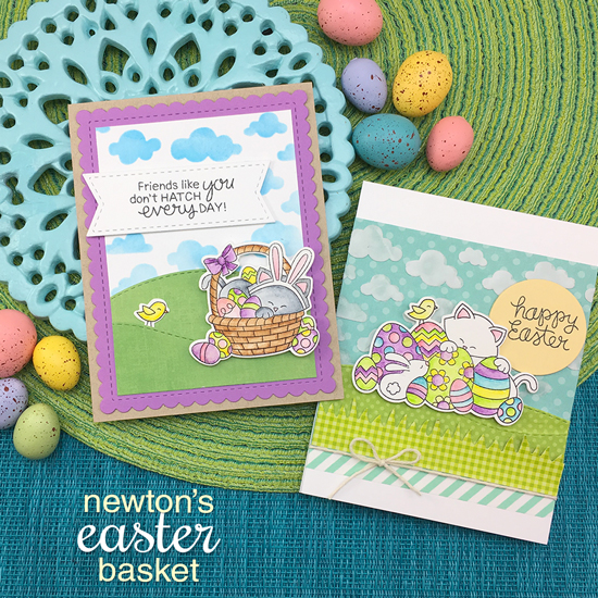 Easter Cat Cards by Jennifer Jackson | Newton's Easter Basket & Cloudy Sky Stencil by Newton's Nook Designs #newtonsnook #handmade