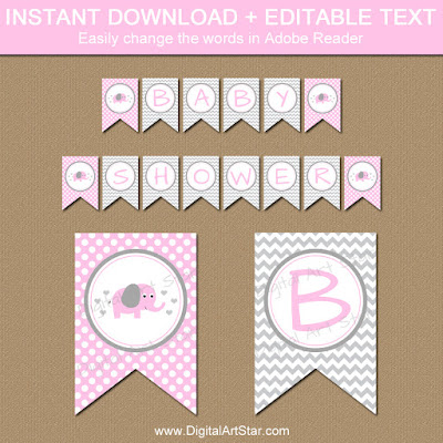 printable banner with pink elephant - easy baby shower decorations