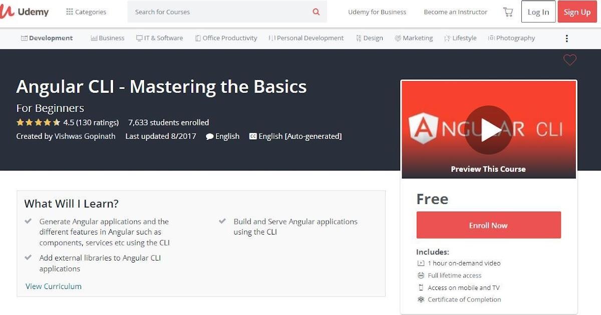 Angular CLI - Mastering the Basics-Udemy Free (100 off) Couponis