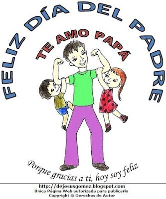 Imagen del Día del padre pintado a colores  (Padre feliz jugando con sus hijos), dibujo al día del padre hecho por Jesus Gómez