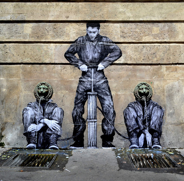 Levalet is back on the sunny streets of Paris in France where he just finished working on a brand new piece.