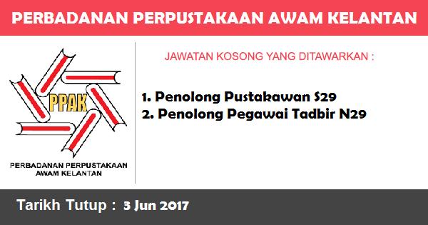 Jawatan Kosong di Perbadanan Perpustakaan Awam Kelantan (PPAK)