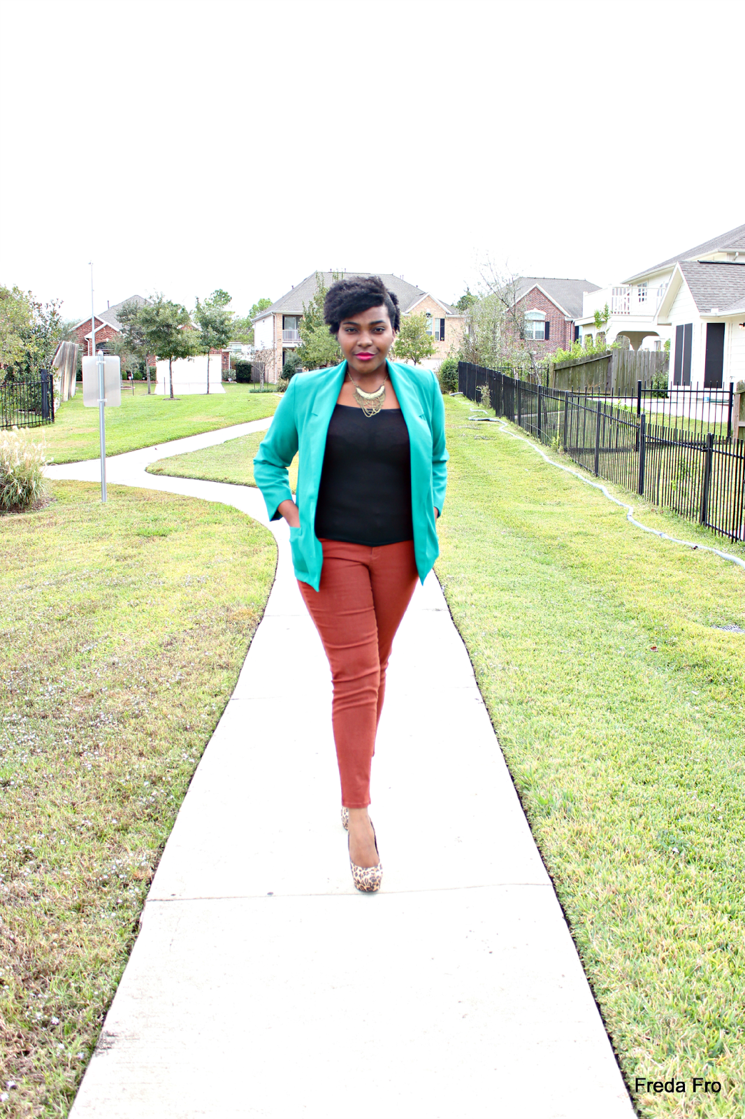 freda fro, auburn jeans, burlington, cheap clothing, thrifted blazers, green blazers, african fashion, bloggers, leopard print pumps, mossimo heals, target heels, simple fashion, church wear, natural hair, nigerian fashion, catholic fashion,