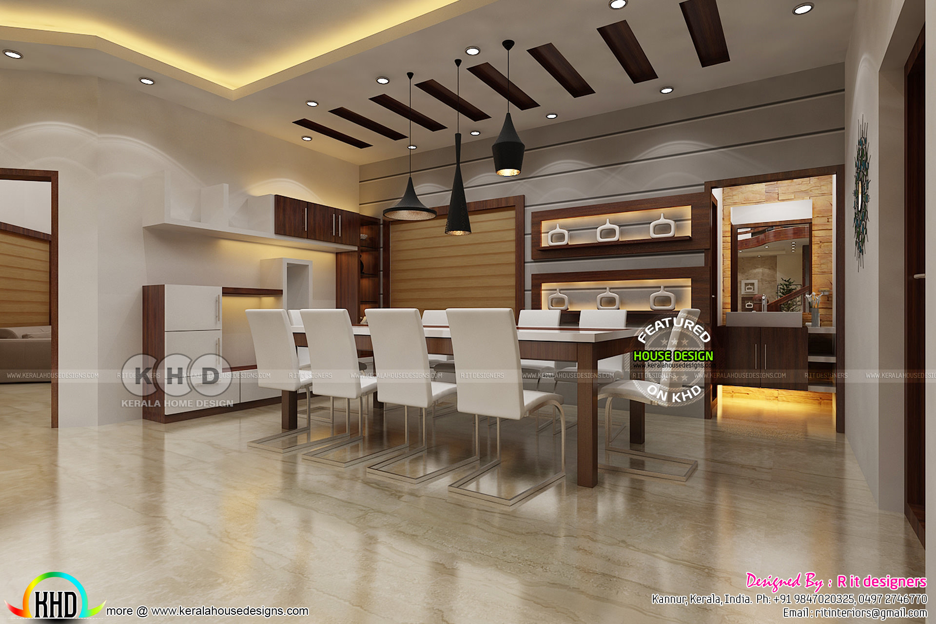 Dining area and living interior designs kerala home for Interior design for dining area