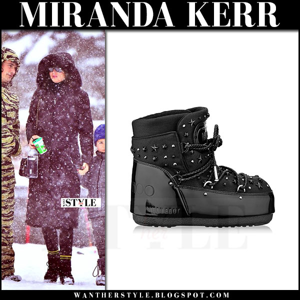 Miranda Kerr in black winter boots moon boot x jimmy choo and black coat what she wore