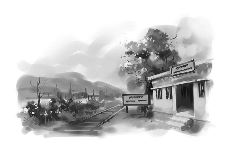 train station black white illustration for tagbag