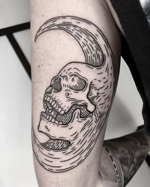 moon skull tattoos