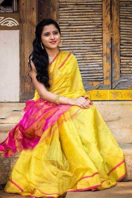 Uppada Yellow And Pink Tissue Silk Saree