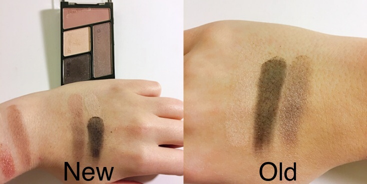 wet n wild coloricon Eyeshadow Quad old vs new Silent Treatment swatches