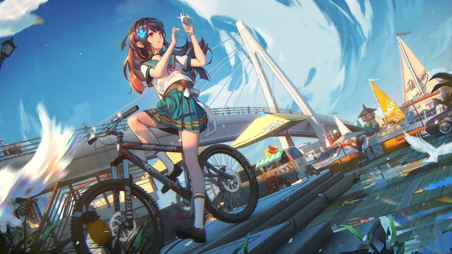 Anime, Student, Girl, Bike, Scenery, 4K, #4.640