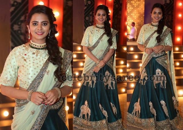 Manasa Himavarsha Designer Half Sari
