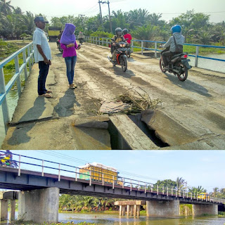 Jembatan Rantau Panjang Pantai Labu Rusak Parah
