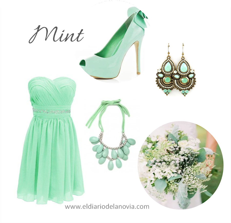 Damas de honor de color mint