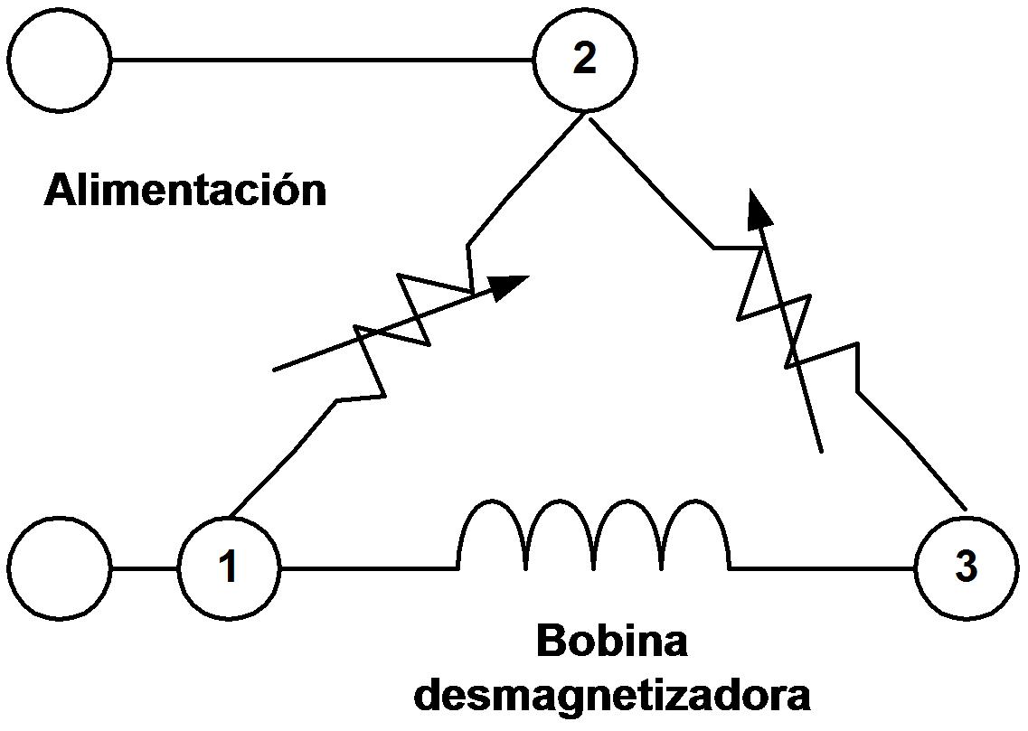 Circuito del conexionado eléctrico de un PTC de tres patas.
