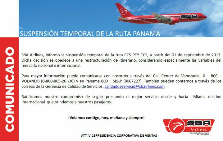 Nuevo comunicado de Santa Bárbara Airlines (SBA), suspensión vuelos a Panamá. Suspensión de la ruta Caracas – Panamá por Santa Bárbara Airlines (SBA).