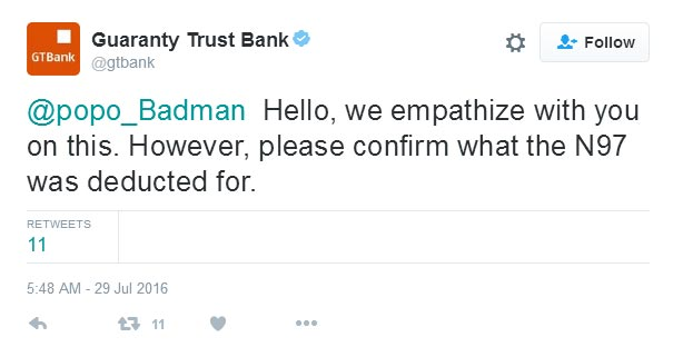 GTB responds Twitter user over his missing 97 naira