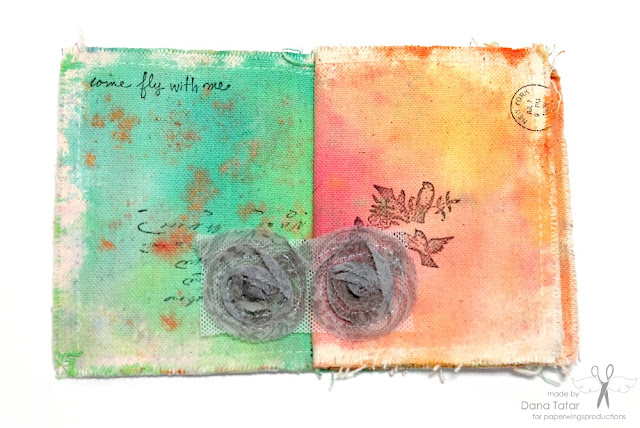 Art Canvas Mini Album Page 1 and 2 by Dana Tatar for Paper Wings Productions