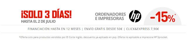 Promoción HP en El Corte Inglés junio 2017