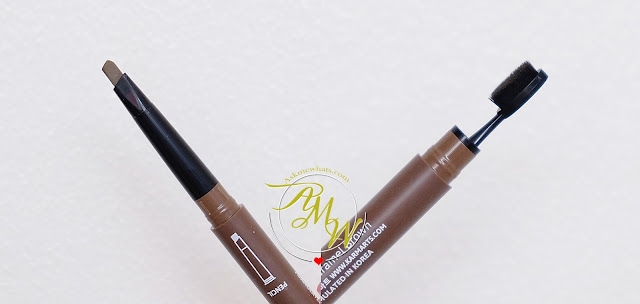 a photo of Cathy Doll Soft Brow Pencil & Spoon Brush Review in shade Hot Carame Brown.