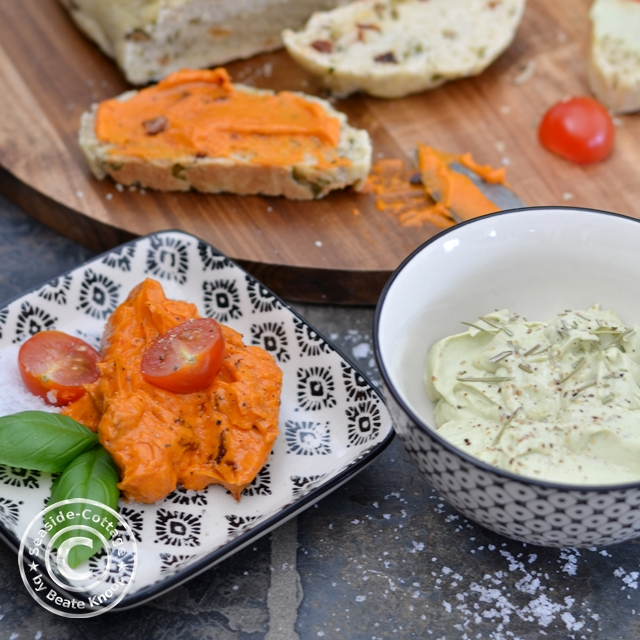 Tomatenbutter Ziegenkäse-Avocado-Dip